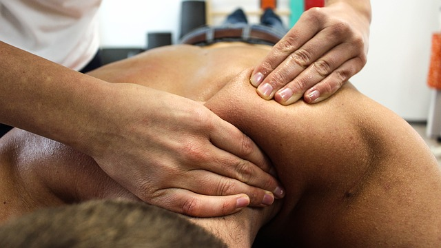 Picture of a client having an massage Okotoks.